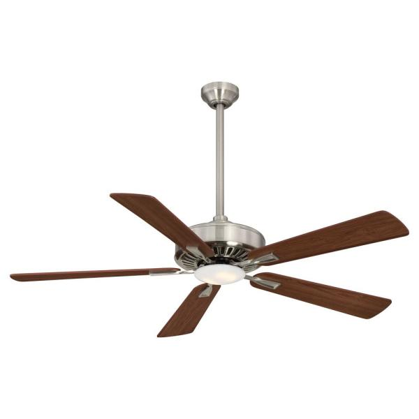 Contractor 52 in. Integrated LED Indoor Brushed Nickel with Dark Walnut Ceiling Fan with Light with Remote Control