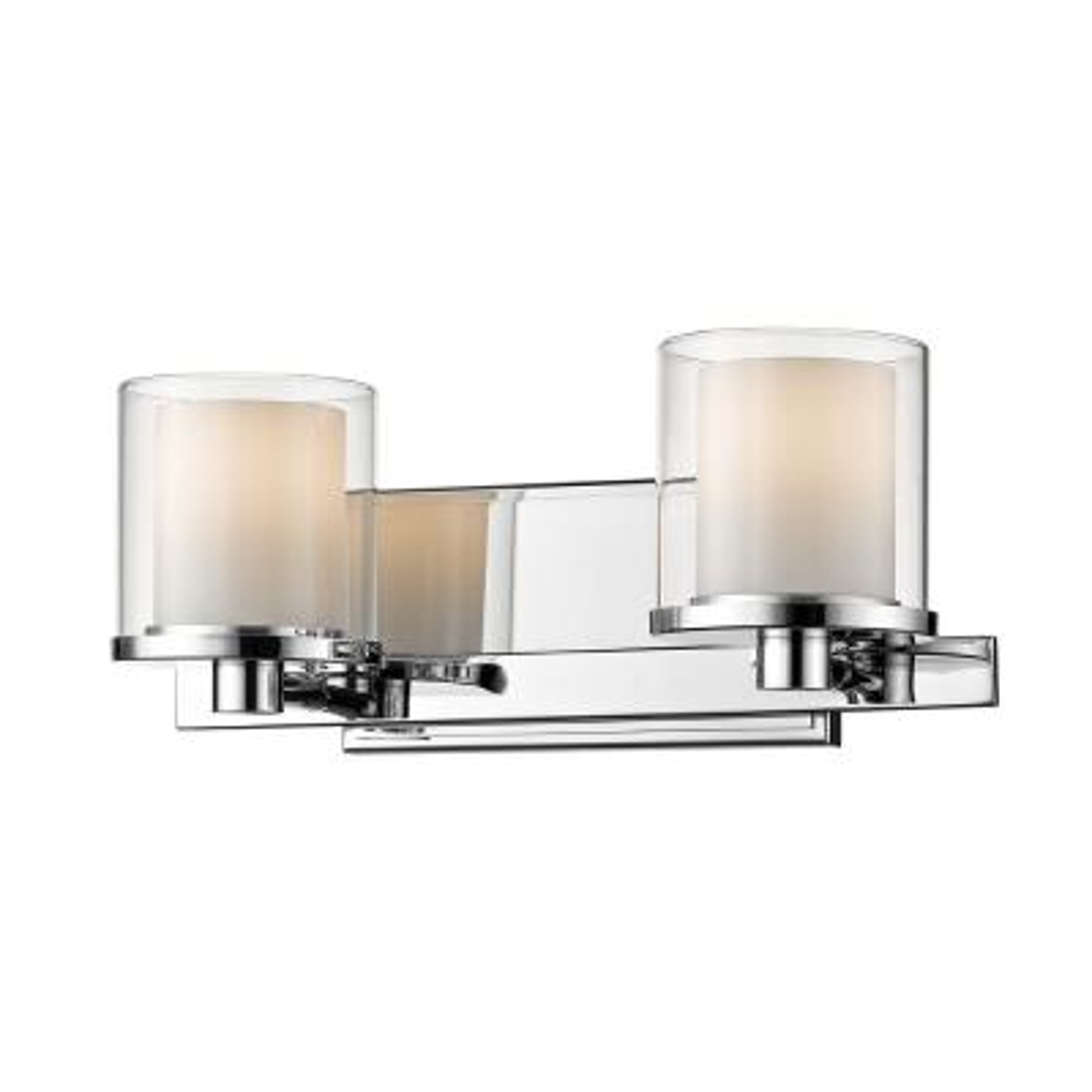 Mira 2-Light Chrome Bath Light with Clear and Matte Opal Glass Shade