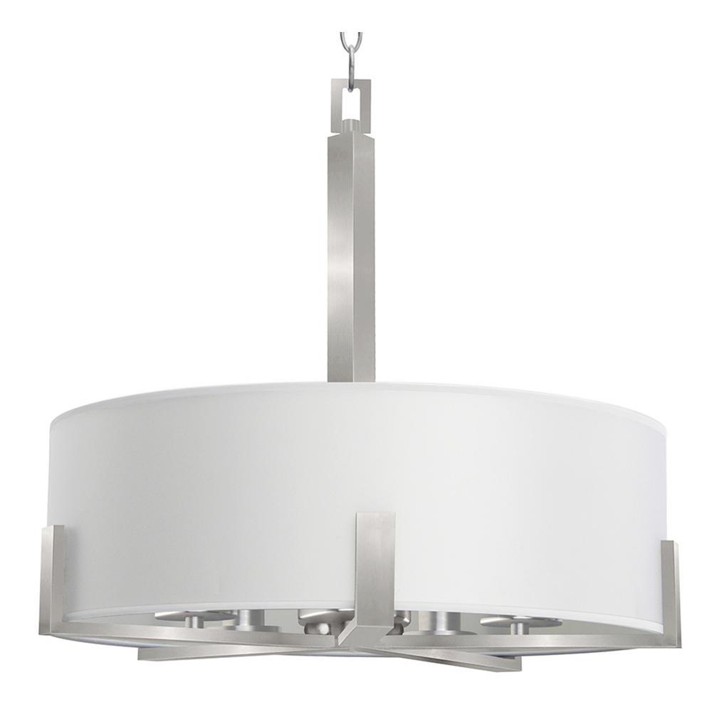 5-Light Satin Steel Chandelier with Pristine White Fabric Shade