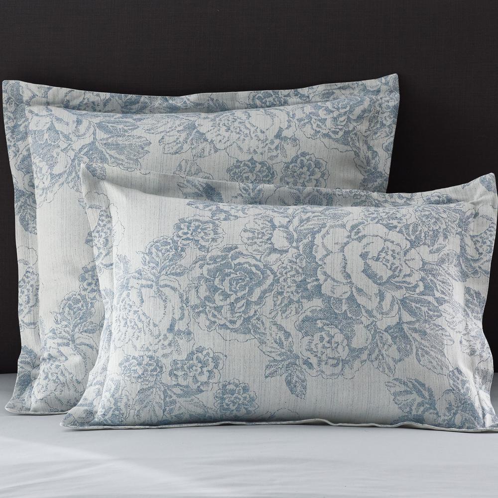 Marta Floral Multicolored Reversible Cotton Linen Blend Euro Sham