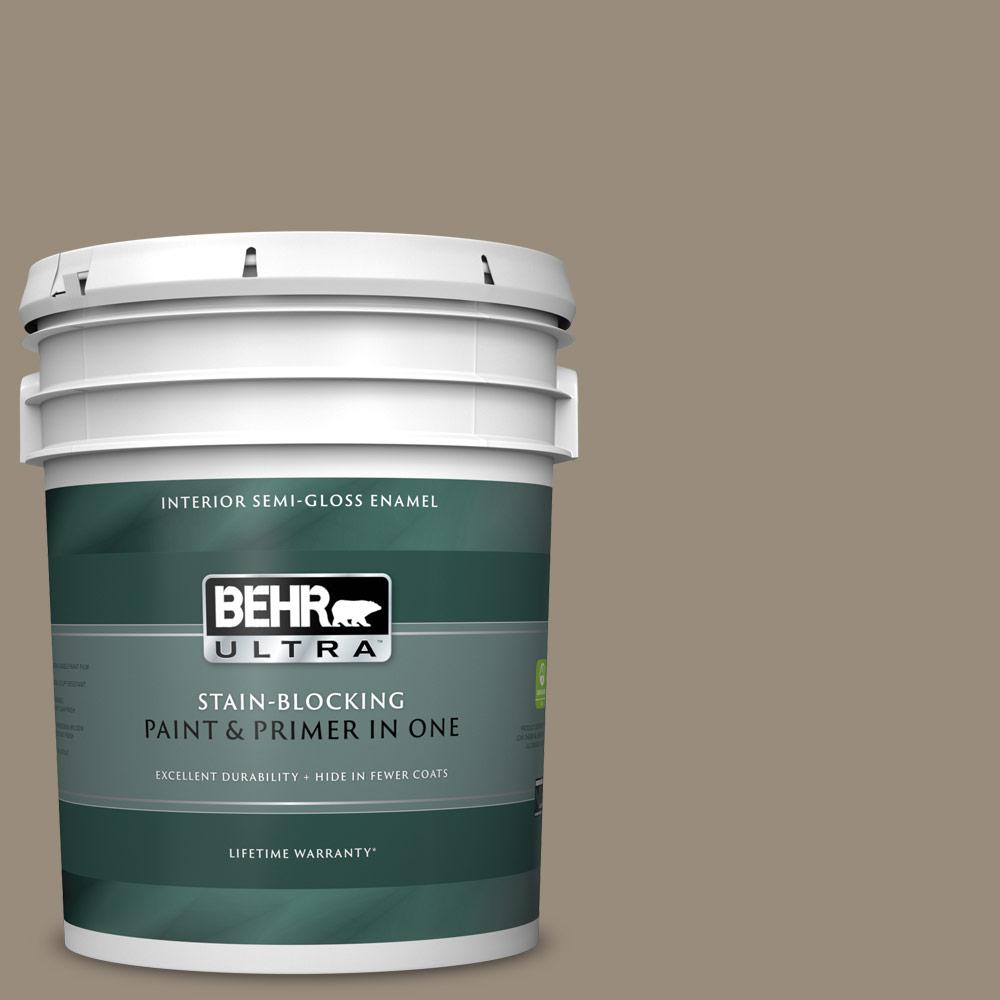 Behr Ultra 5 Gal Mq6 29 Lost Canyon Semi Gloss Enamel Interior Paint And Primer In One 375405 The Home Depot