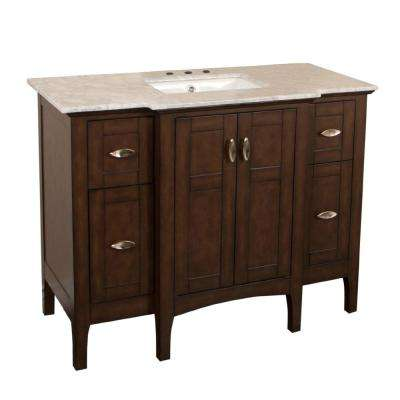 Paradise 45 in. W x 22 in. D Single Vanity in Sable Walnut with Marble Vanity Top in White with White Basin