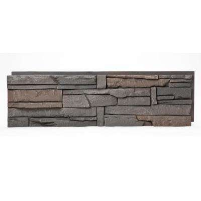 Stacked Stone Coffee 12 in. x 42 in. Faux Stone Siding Half Panel