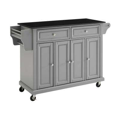 Full Size Grey Kitchen Cart with Solid Black Granite Top