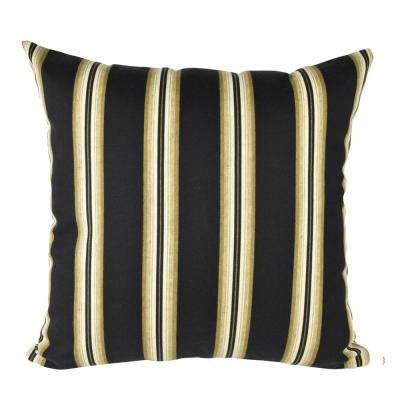 Classic Black Stripe Outdoor Throw Pillow