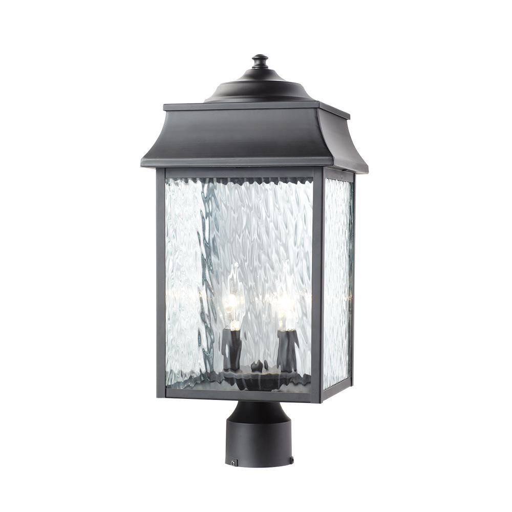 Scroll 2-Light Outdoor Black Post Light