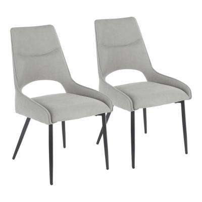 Mickey Contemporary Dark Grey Fabric Dining Chair (Set of 2)