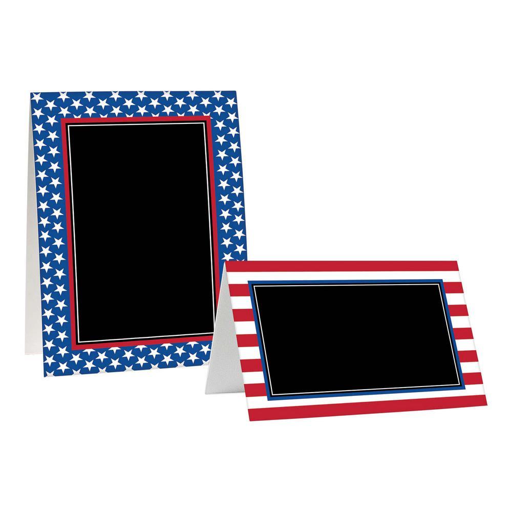 AMSCAN Patriotic Paper Chalk Tent Cards Assortment (8-Cou...