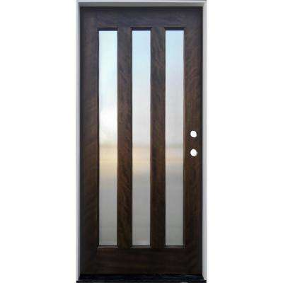 36 in. x 80 in. Espresso Left-Hand Inswing 3-Lite with Reed Glass Mahogany Prehung Front Door
