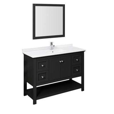 Manchester 48 in. W Bathroom Vanity in Black with Quartz Stone Vanity Top in White with White Basin and Mirror