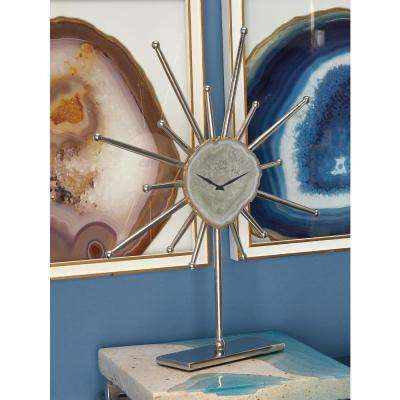 Silver Agate Stone and Aluminum Star Sculpture Clock with Gold and Green Highlights