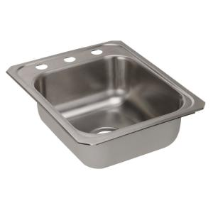 Celebrity Drop In Stainless Steel 17 In. 3 Hole Single Bowl Kitchen Sink