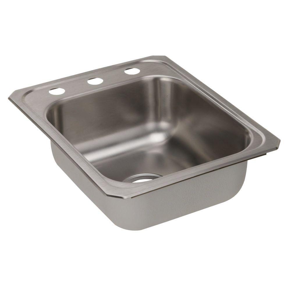 Celebrity Drop-In Stainless Steel 17 in. 3-Hole Single Bowl Kitchen Sink