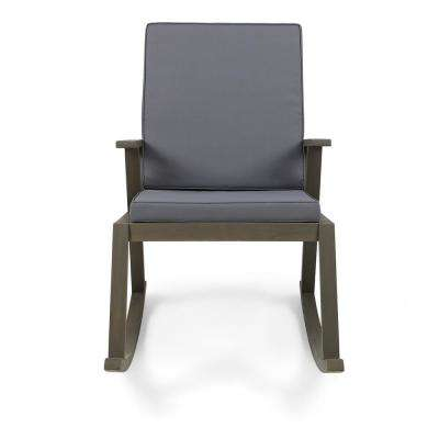 Champlain Gray Wood Outdoor Rocking Chair with Dark Gray Cushion