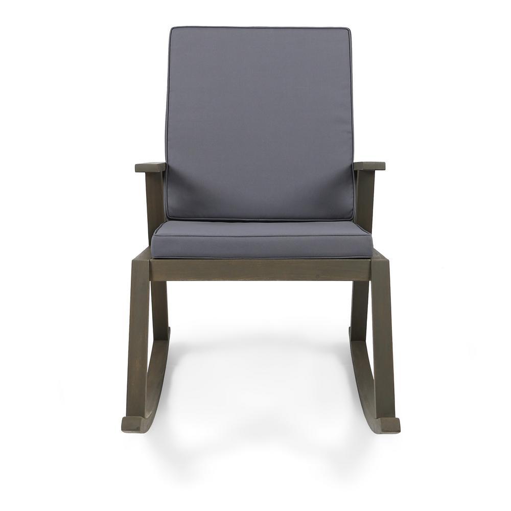 Champlain Gray Wood Outdoor Rocking Chair with Dark Gray Cushion