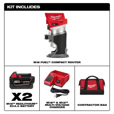 M18 FUEL 18-Volt Lithium-Ion Brushless Cordless Compact Router with Two 4.0 Ah Batteries, Charger and Contractor Bag