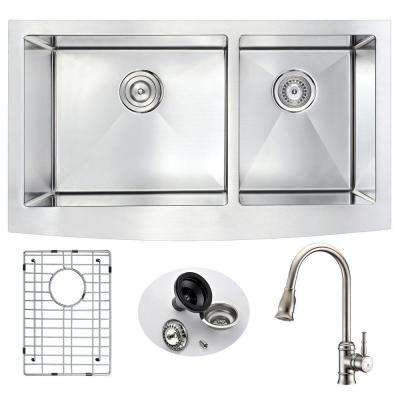 ELYSIAN Farmhouse Stainless Steel 33 in. Double Bowl Kitchen Sink and Faucet Set with Sails Faucet in Brushed Nickel