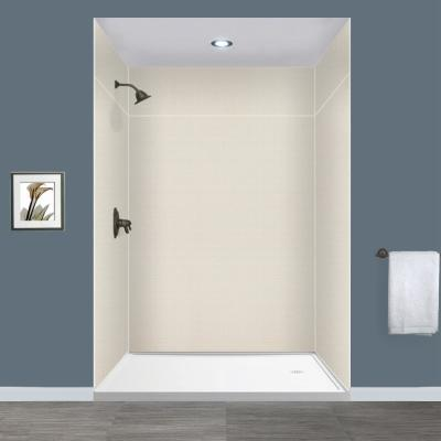 Expressions 60 in. x 60 in. x 96 in. 4-Piece Easy Up Adhesive Alcove Shower Wall Surround in Cameo