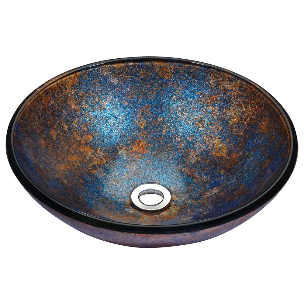 ANZZI Stellar Series Deco-Glass Vessel Sink in Sapphire B...