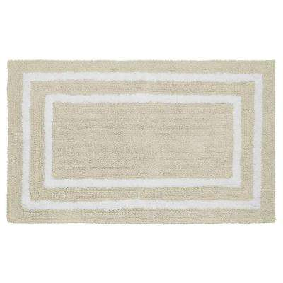 Reversible Cotton Soft Double Border Ivory 21 in. x 34 in. Bath Mat