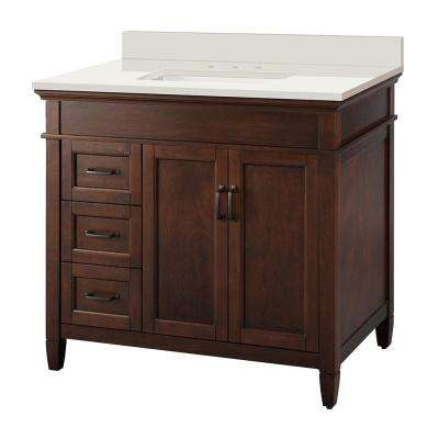 Ashburn 37 in. x 22 in. Vanity in Mahogany with Engineered Marble Vanity Top in Winter White with White Basin