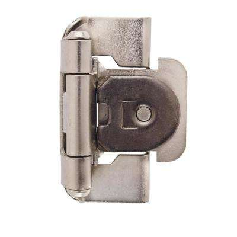 1/2 in. (13 mm) Satin Nickel Overlay Single Demountable, Partial Wrap Hinge (2-Pack)