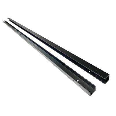 91 in. x 1-1/4 in. x 1-1/4 in. Black Aluminum Fence Channels, for 8ft. High fence, 2 per pack, includes screws