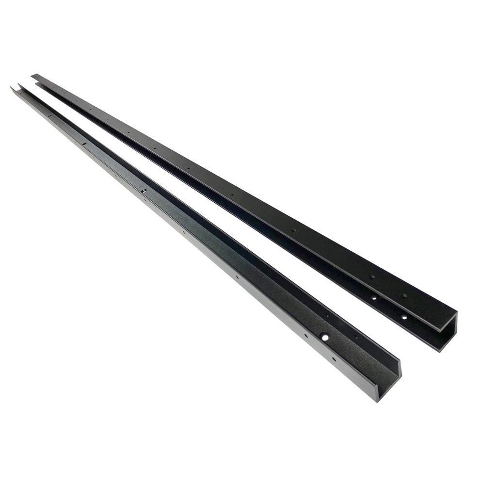 1-1/4 in. x 1-1/4 in. x 7-7/12 ft. Black Aluminum Fence Rail