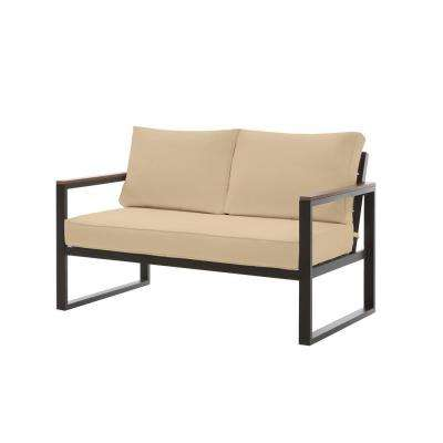 West Park Black Aluminum Outdoor Patio Loveseat with Sunbrella Beige Tan Cushions