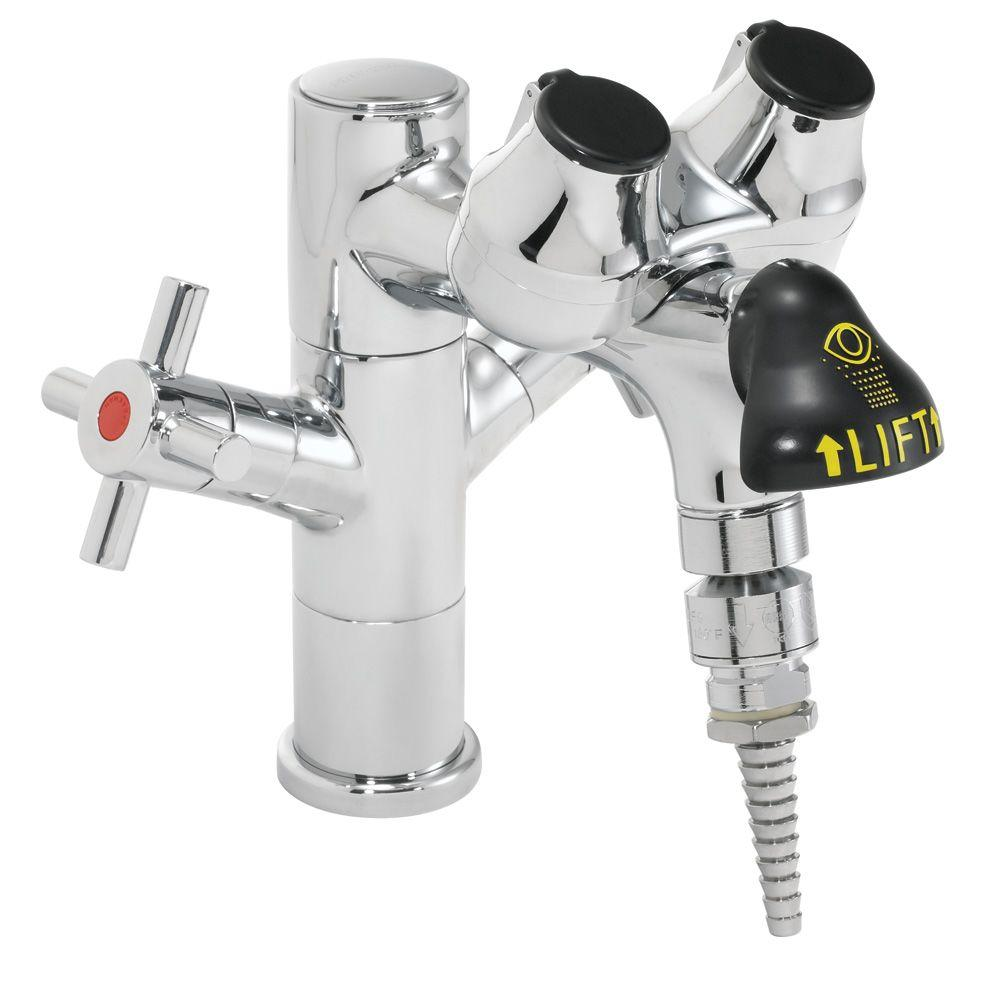 Eyesaver Laboratory Eye Wash with Serrated Tip Faucet in Polished Chrome