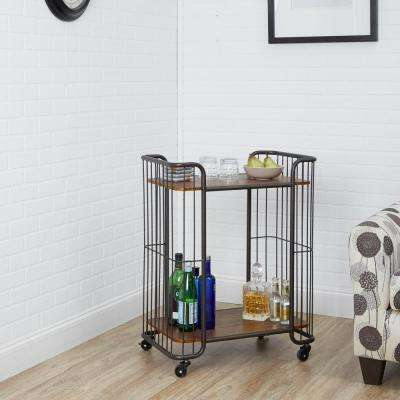 Bowlin Industrial 2 Tier Caged Gunmetal Gray Serving Cart