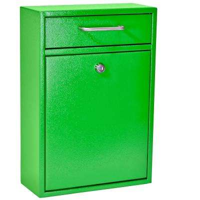 Olympus Locking Wall-Mount Drop Box Mail Box with High Security Patented Lock, Neon Green