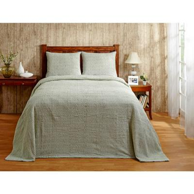 Natick Collection in Wavy Channel Stripes Design Sage Queen 100% Cotton Tufted Chenille Bedspread