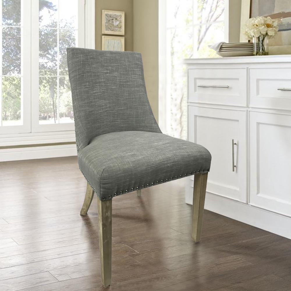 Grey Linen Simplicity With Knocker Dining Chair Set Of 2