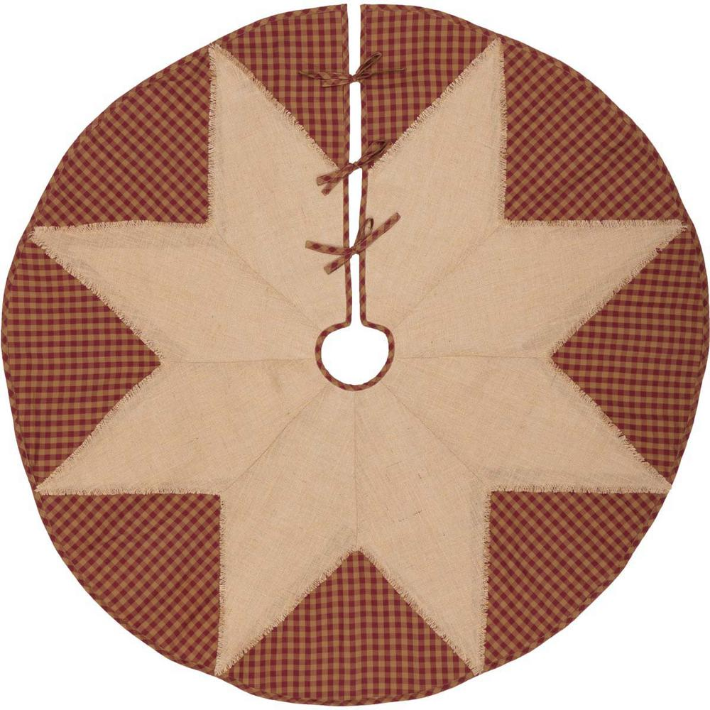 burgundy check red primitive christmas decor star tree skirt