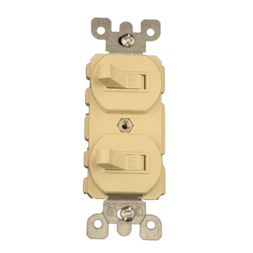 leviton 20 amp commercial grade combination two single pole toggle20 amp commercial grade combination two single pole toggle switches, ivory