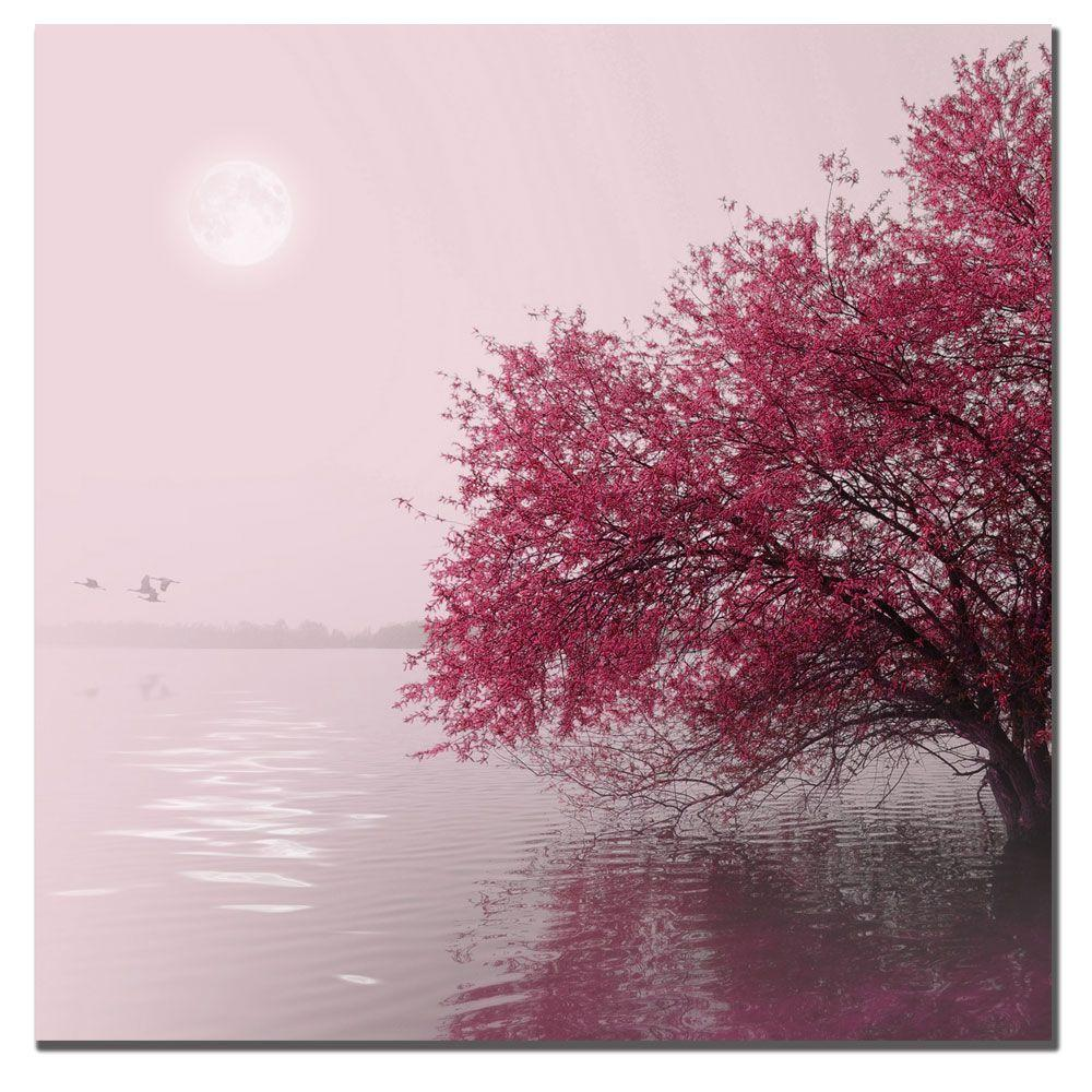 null 14 in. x 14 in. Full Moon on the Lake Canvas Art
