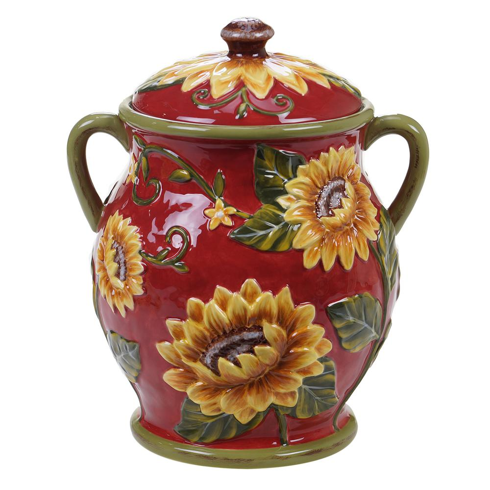 Sunset Sunflower Ceramic Biscuit Jar