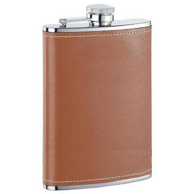 Bobcat Brown Leather Stainless Steel Flask