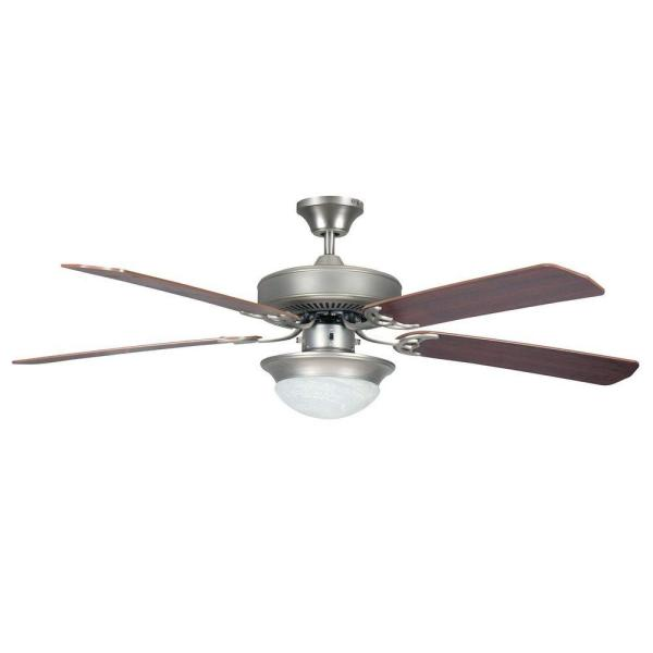 Ranch 52 in. Satin Nickel Ceiling Fan with Light Kit and 5 Blades