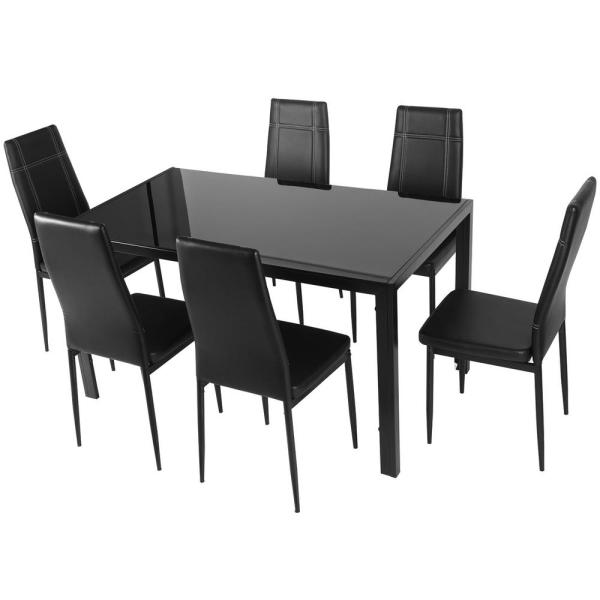 Harper Bright Designs 7 Piece Black Dining Set Glass Top Metal Table 6 Person Chairs Sk000017aab The Home Depot