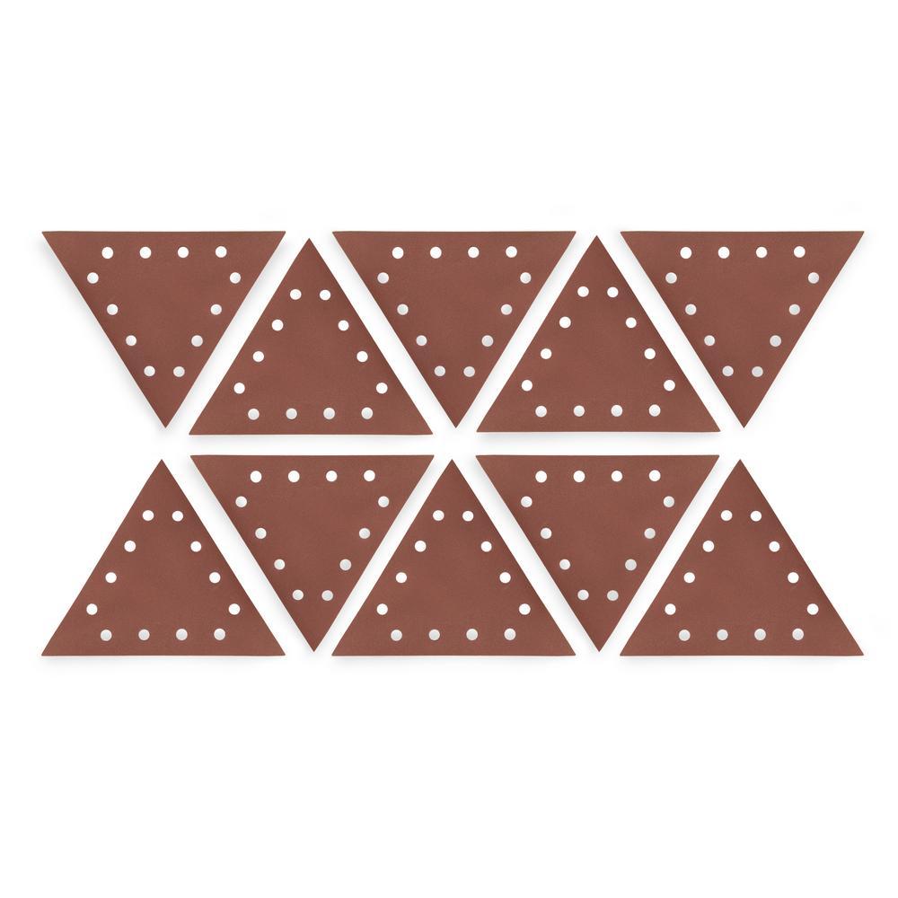 Drywall Sander 11-1/4 in. 120-Grit Hook and Loop Triangle Sandpaper (10-Pack)