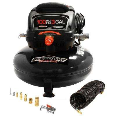 3 Gal. Oil-Free Compressor with Onboard Accessory Storage, 120 Volt 25 ft. Hose and Inflation Kit