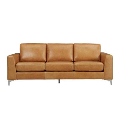Russel 91 in. Caramel Faux Leather 4-Seater Lawson Sofa with Removable Covers