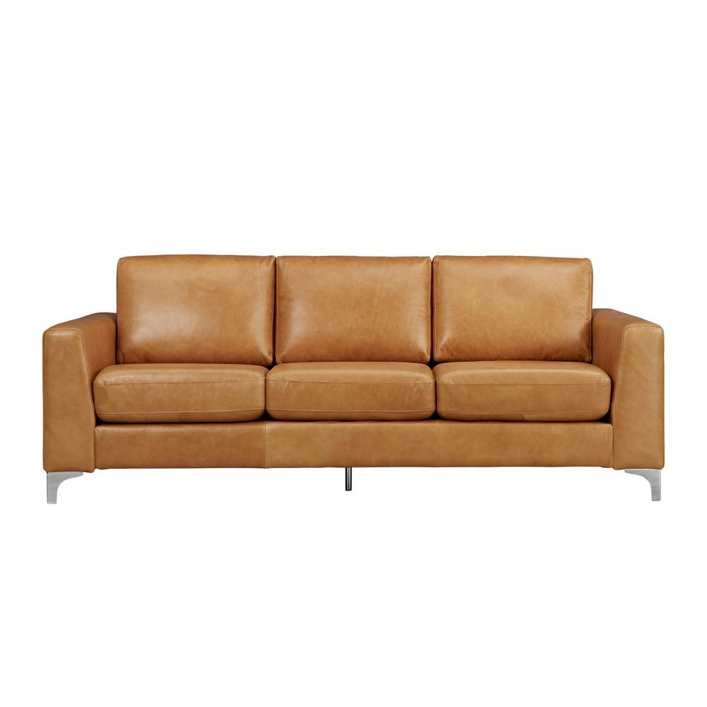 HomeSullivan Russel 1 Piece Caramel Leather Sofa