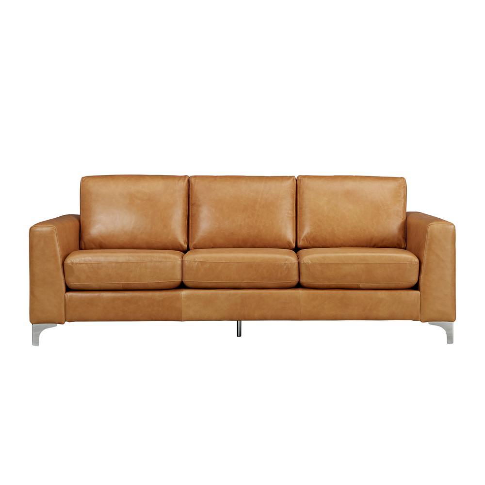 Russel 1-Piece Caramel Leather Sofa