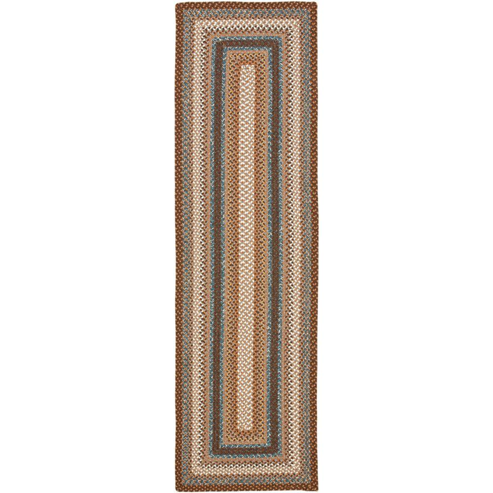 Safavieh Braided Brown/Multi 2 ft. 3 in. x 14 ft. Runner