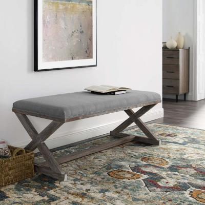 Province Vintage French X Brace Upholstered Fabric Bench In Light Gray