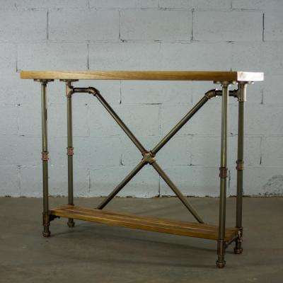 Houston Industrial Vintage, Brown 2-Tier Pipe Entryway/Console/Sofa/Hall Table-Metal-Reclaimed/Aged Wood