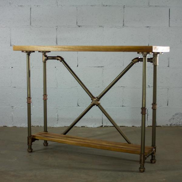 Houston Vintage Brown 2 Tier Pipe Entryway Console Sofa Hall Table Metal Reclaimed Aged Wood